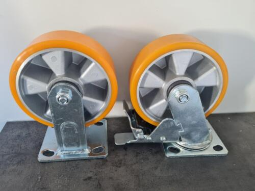 Braked and non braked castor wheel set